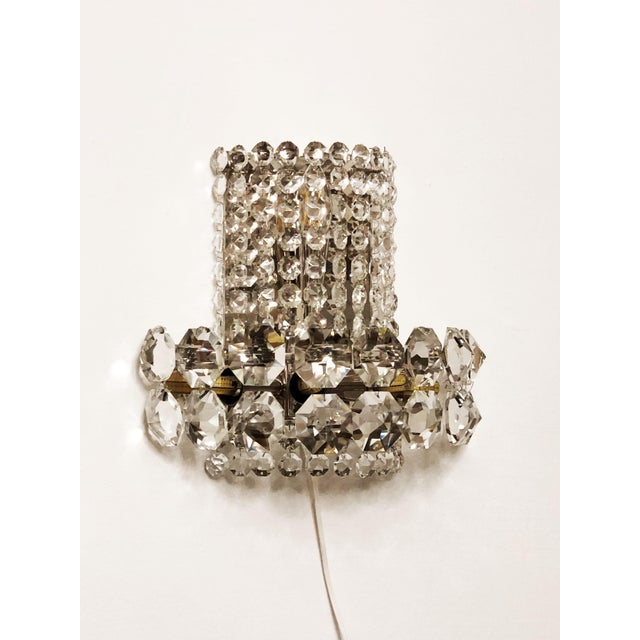 Mid-Century Modern Pair of Large Crystal Sconces by Bakalowits and Sohne For Sale - Image 3 of 13