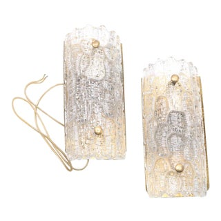 Vintage Carl Fagerlund for Orrefors Glass & Brass Sconces - a Pair For Sale