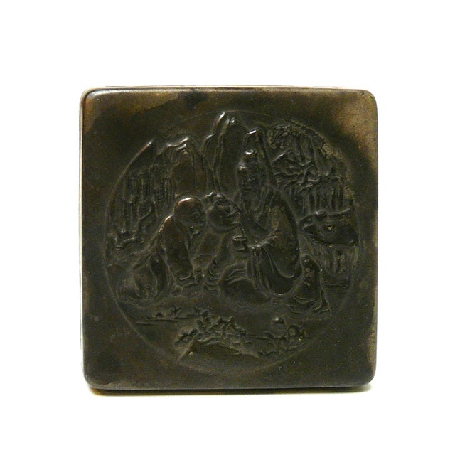 Handmade Metal Bronze Color Trinket Box For Sale