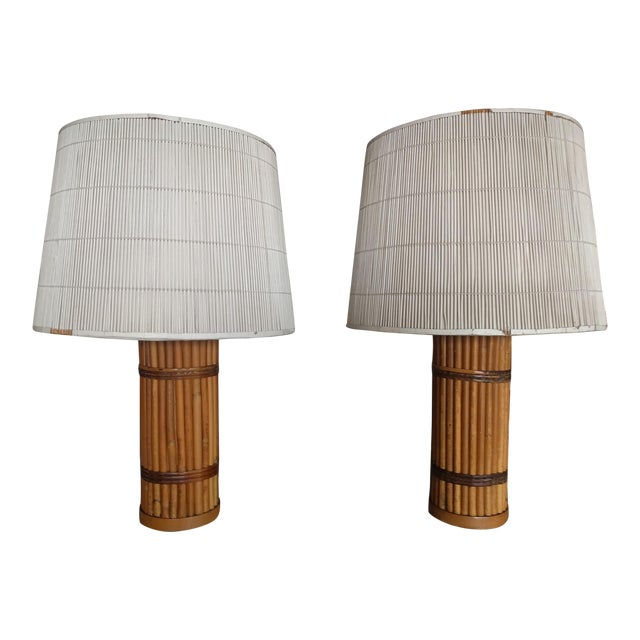 Vintage 1940's Rattan Lamps - A Pair For Sale