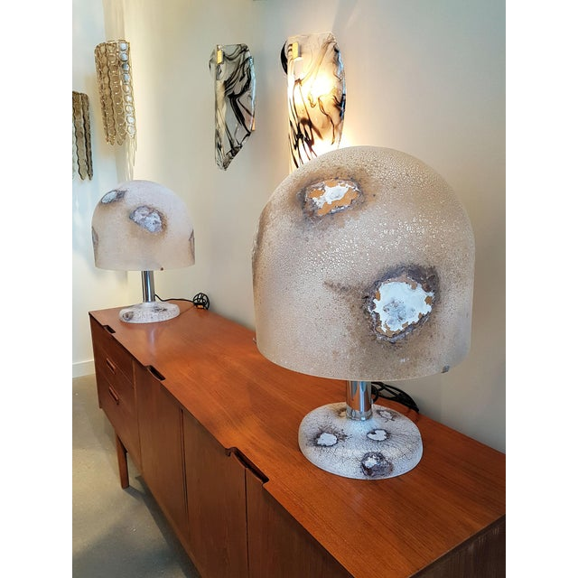 Large Murano glass pair of table lamps, Mid Century Modern, by Alfredo Barbini, Italy. Beautiful and unique textured and...