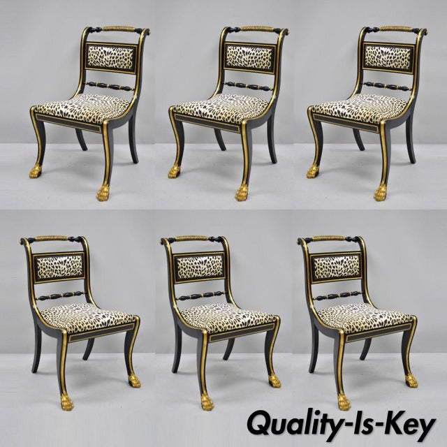 Black and Gold Regency Style Paw Feet Dining Chairs - Set of 6 For Sale - Image 12 of 12