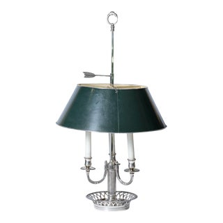 Antique French Silver Plated Bouillotte Lamp With Green Tole Shade For Sale
