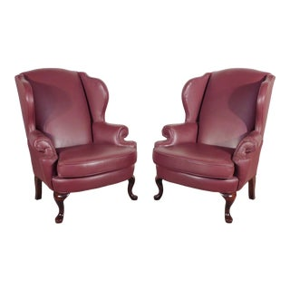 1990s Norwalk Claret Leather Wing Wingback Fireside Queen Anne Chairs - a Pair For Sale