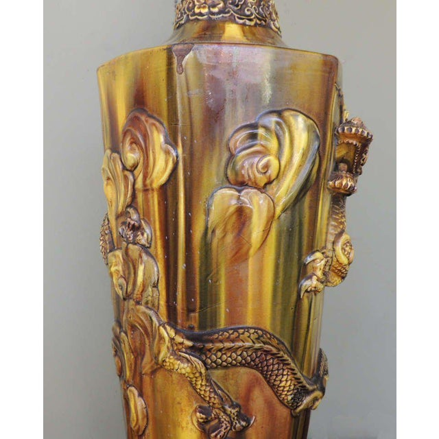 19th C Chinese Glazed Ceramic Lamp For Sale - Image 4 of 9