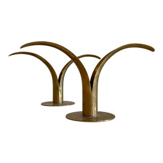 Ystad Metall Brass Sweden Lily Candlesticks Holders - a Pair For Sale