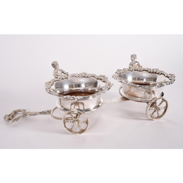 Vintage English Silver Plate Wheeled Carriage Drinks / Decanter Holder For Sale - Image 9 of 10
