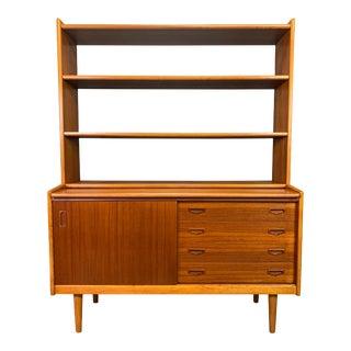 Vintage Scandinavian Mid Century Modern Teak and Oak Secretary Bookcase For Sale