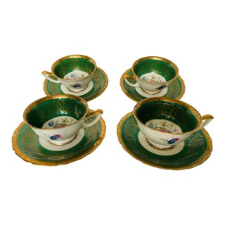 Early 20th Century Thomas Bavaria Tea Cups and Saucers - Set of 4 For Sale