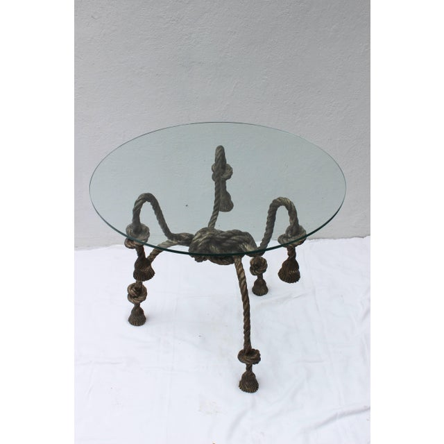 Brown Maison Jansen Style Solid Brass Rope Table For Sale - Image 8 of 10