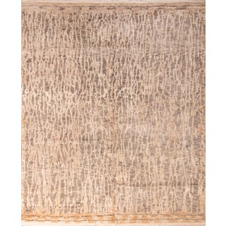 20th Century Contemporary Hand Knotted Abstract Neutral Rug For Sale