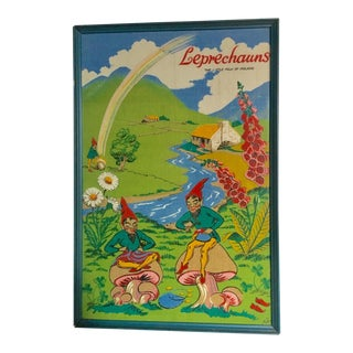 "Framed ""Leprechauns"" The Little Folk of Ireland Block Print Linen by Nelson For Sale"
