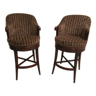 Council Furniture Counter Height Swivel High Top Bar Stools - A Pair For Sale