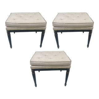 Signed Maison Jansen Leather Benches - Set of 3 For Sale