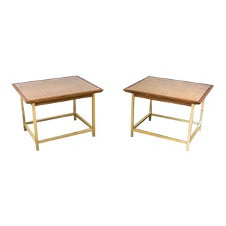 Mid Century Modern Kipp Stewart for Drexel Cane & Walnut End Tables - a Pair For Sale