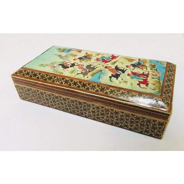 Micro Mosaic Indo Persian Inlaid Jewelry Trinket Box For Sale - Image 4 of 11