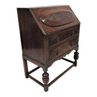 English Oak Relief Carved Dark Oak Secretary Desk With Stretcher Base For Sale