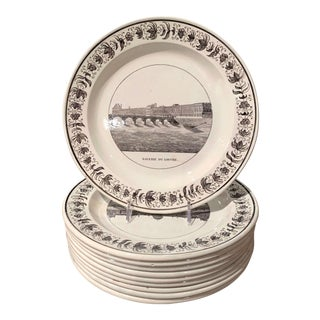 19th Century French Napoleon III Black and White Paris Scenes Plates, Set of 10 For Sale