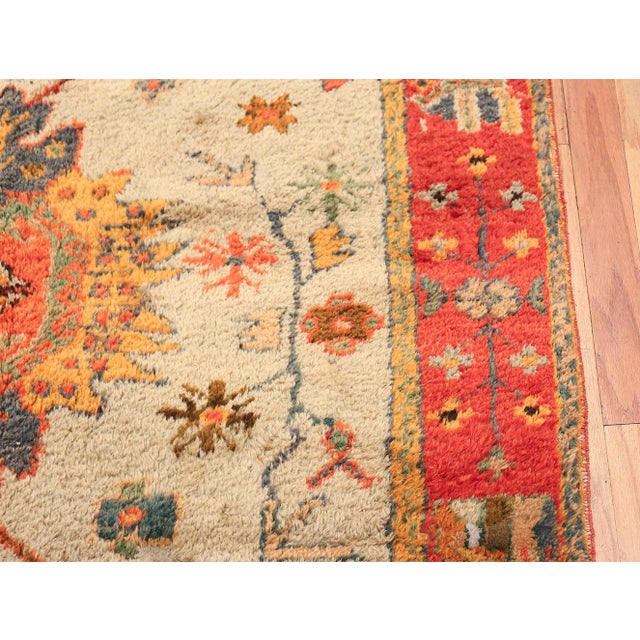 Antique Turkish Arts and Crafts Light Blue Oushak Rug - 5′5″ × 11′ For Sale In New York - Image 6 of 11