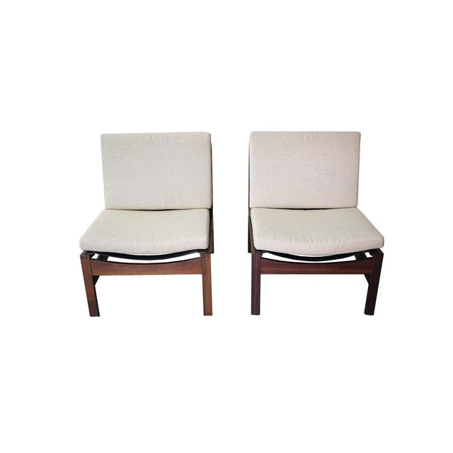 Linen Mid-Century Armless Lounge Chair, Sold as a Pair For Sale - Image 8 of 8