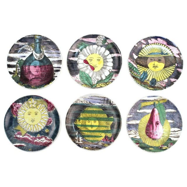 """Black 1960s Fornasetti """"Soli E Lune"""" Porcelain Coasters With Original Box - Set of 6 For Sale - Image 8 of 10"""