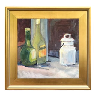 Still Life Oil Painting W/ Wine Bottles