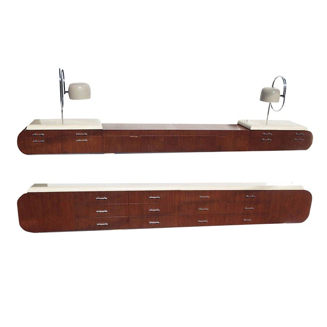 1960s Arthur Elrod for Laurence Harvey Wall-Mounted Bedroom Suite - a Pair For Sale
