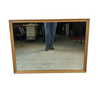 1960s Ash Wood Rectangular Wall Mirror For Sale