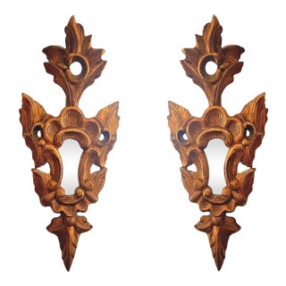 1920s French Neoclassical Gilt Wood Small Wall Mirrors - a Pair For Sale