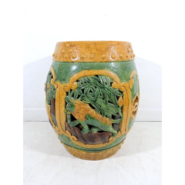 Chinoiserie Antique Chinese Sancai Glazed Ceramic Garden / Drum Stool or Side Table (Lion, Camel & Panther) For Sale - Image 3 of 8