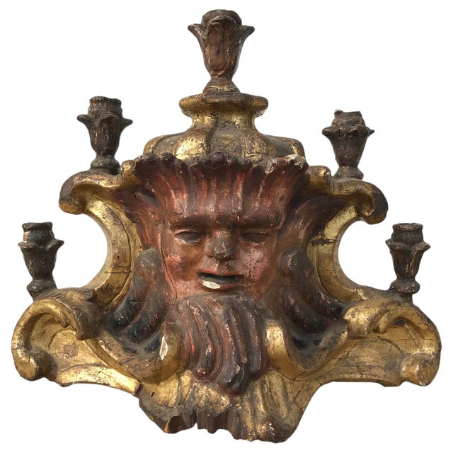 Early 18th Century Antique Painted Candelabra For Sale