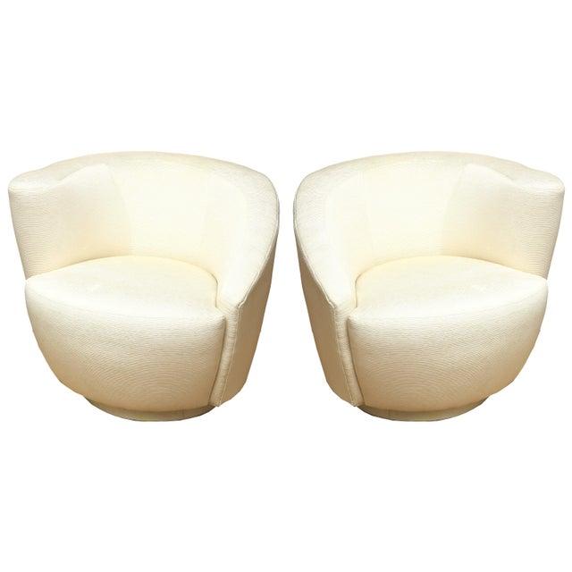 "1970s Vintage Vladimir Kagan"" Nautilus"" Swivel Lounge Chairs- A Pair For Sale - Image 11 of 11"