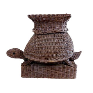 Vintage Turtle Wicker Rattan Stool For Sale