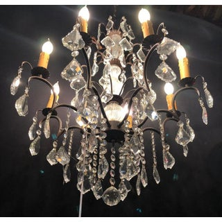 Copper Designed Metal and Crystal Chandelier With Centre Cut Glass Column Preview