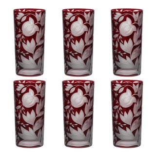 Verdure Highball Glasses, Set of 6, Red For Sale