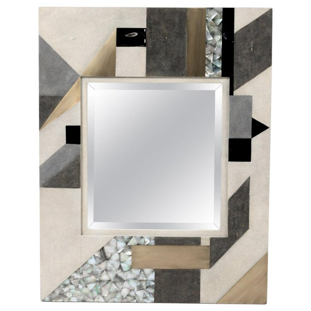 Geometric Mirror in Shagreen, Shell and Bronze-Patina Brass by Kifu Paris For Sale In New York - Image 6 of 6
