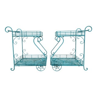 Vintage Mid Century Wrought Iron Bar or Garden Carts - A Pair For Sale
