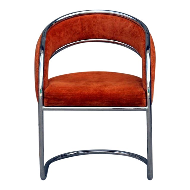 Unique 70's Orange Velvet and Chrome Armchair For Sale