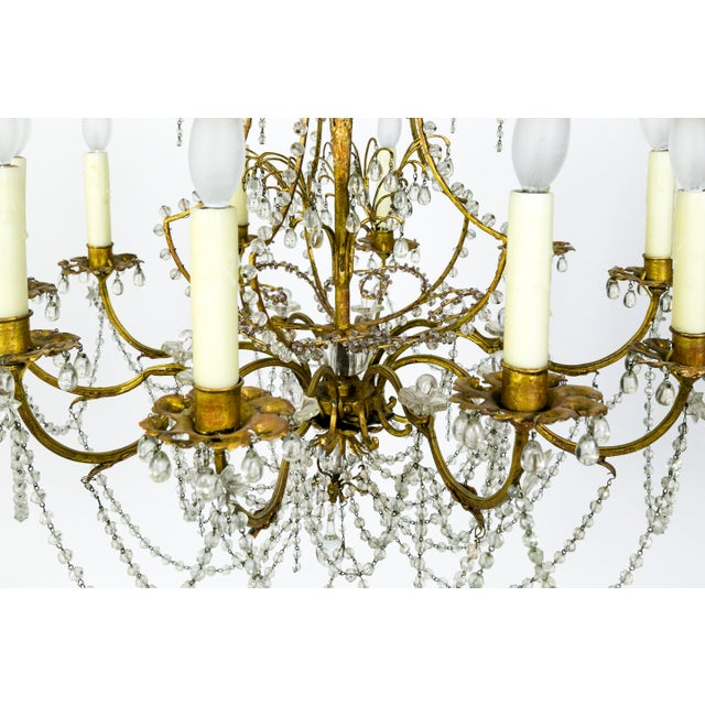 French Crystal Beaded & Brass Curls Ten Light Chandelier For Sale - Image 4 of 11