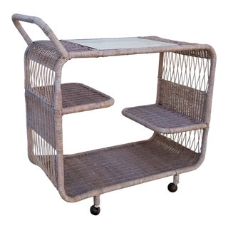 1970s Mid-Century Modern Tropical Chic Tree Tier Wicker Bar Cart For Sale