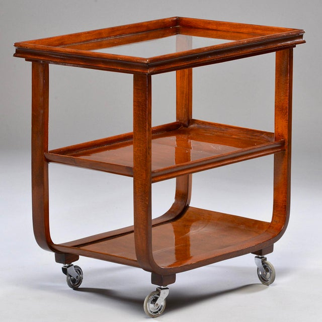 English Traditional English Wooden Bar Cart or Tea Trolley With Removable Glass Tray For Sale - Image 3 of 8