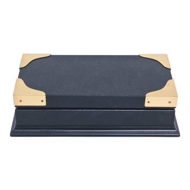Italian Vintage Gucci Blue Lacquered and Brass Hinged Box For Sale