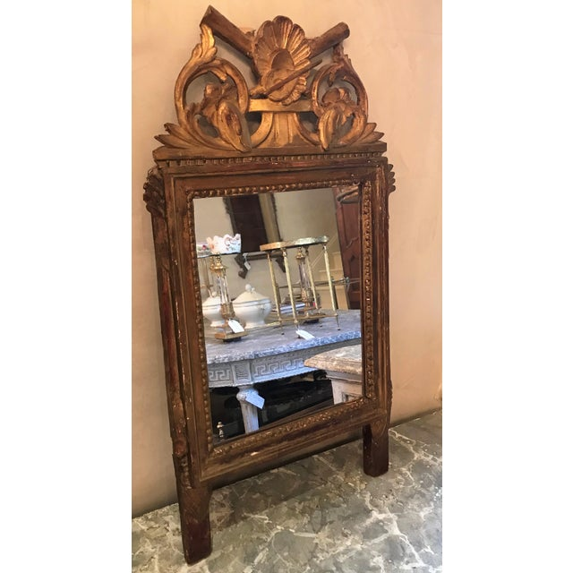 French Petite Louis XVI Giltwood Mirror For Sale - Image 3 of 8
