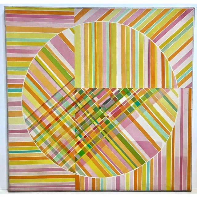 Large scale midcentury Op Art acrylic painting by Mercedes Monez Smith, circa 1960s. Original Lucite lathe frame intact,...