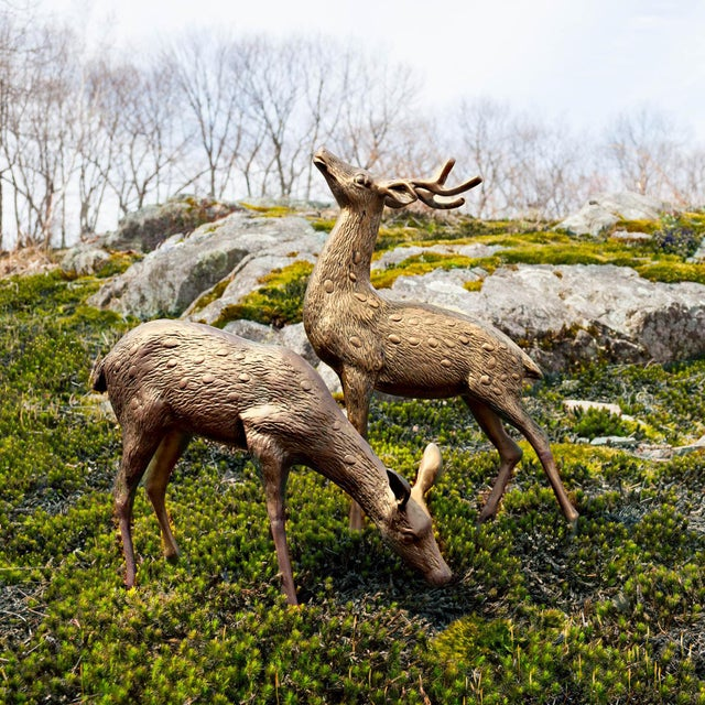 Vintage Brass Deer Figures - A Pair - Image 3 of 10