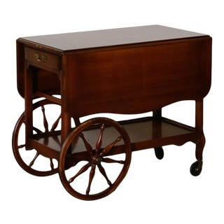 1950s Imperial Furniture Drop Leaf Bar Cart With Large Wheel For Sale