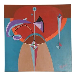 Mid-Century Geometric Abstract Painting on Canvas For Sale