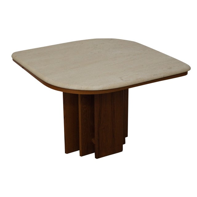 Danish Modern Teak & Travertine Coffee Table - Image 1 of 9