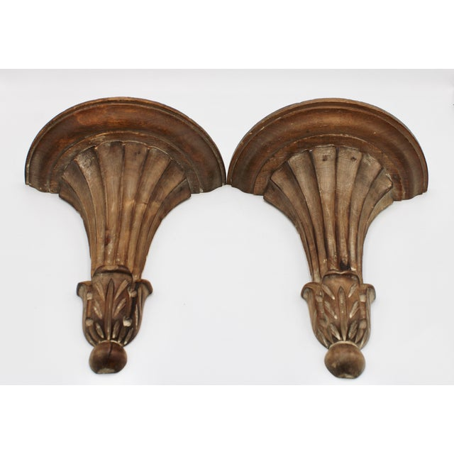 Italian Wooden Wall Shelves - a Pair For Sale - Image 4 of 10