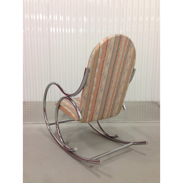 Mid Century Modern Chrome Rocking Chair For Sale In Miami - Image 6 of 7
